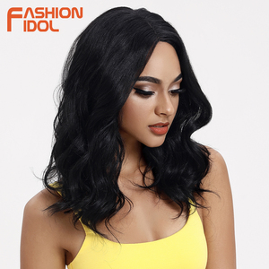 Image 4 - IDOL mody luźne włosy peruki syntetyczne dla czarnych kobiet peruka z mocnymi lokami 18 cal żaroodporne Cosplay peruki syntetyczne koronki peruka