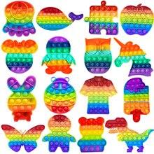 1PC Push Bubble Sensory Fidget Toy Autism Squishy Stress Reliever Toys Adult Kid Unicorn Fidget Toys Dropshipping