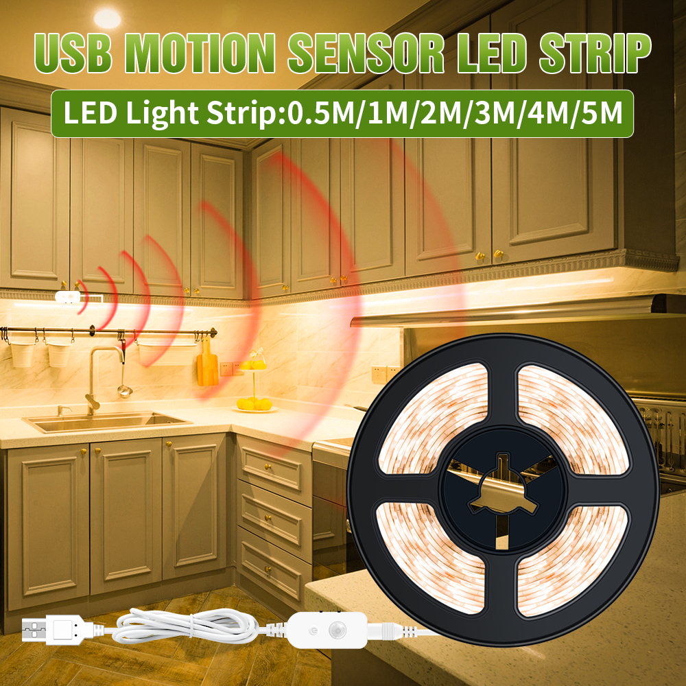 Automatic On/off Light Strip Led Motion Sensor Night Lamp Led Dimmable Lamp Tape USB 5V Cabinet Stairs Kitchen Waterproof Ribbon