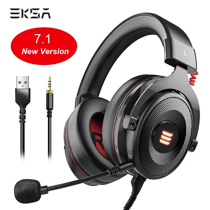 Eksa gaming headset e900 pro fone de ouvido 7.1 surround som com fio fones led usb/3.5mm fone de ouvido gamer com microfone para xbox pc ps4