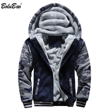 BOLUBAO Winter Brand Men Hoodies Sweatshirts New Mens Plus Velvet Thicken Hoodies Coat Camouflage Cardigan Hoodie Male Clothing