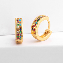 Small Hoop Earrings Women Double Rows CZ Paved Rainbow Fashion Jewelry Mini Tiny Aretes Dainty Round Huggie Gold Color MZ049