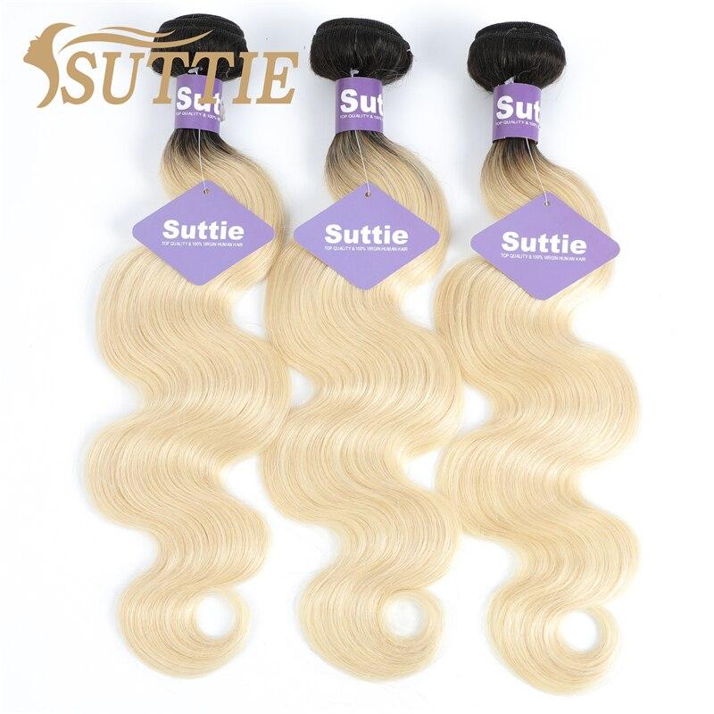 Suttie Omber 1b613 Blonde Body Wave Human Hair Bundles Peruvian Remy Human Hair Extension Honey Blonde Bundles