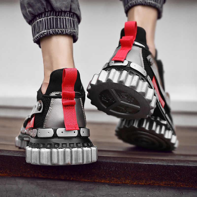 39-45zapatos casuales de moda hombres Zapatillas de malla transpirable iluminadas hombres al aire libre hip hop cordones antideslizantes Sapatos de corrida