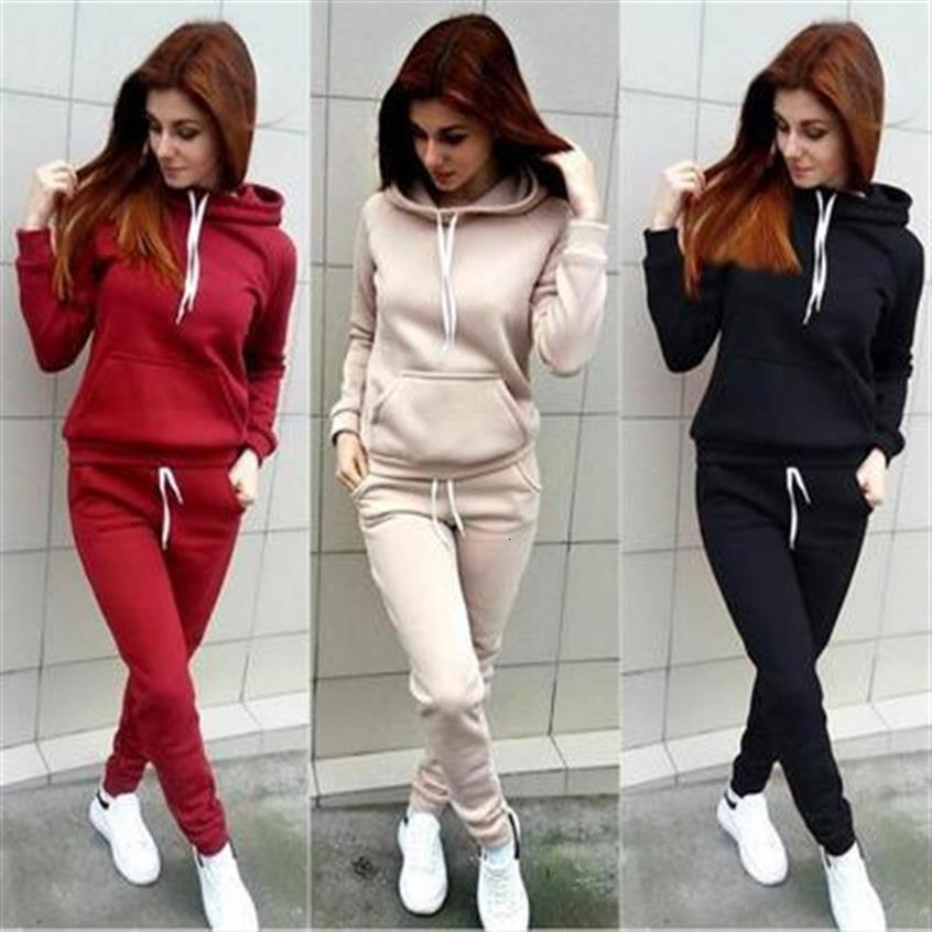 2019 New Fashion Autumn And Winter Sweater Women's Fashion Long-sleeved Hooded Suit Tops Female Plus Size