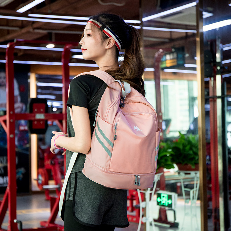 Image 5 - Women Pink Sport Gym Bag Waterproof Fitness Swimming Backpack Yoga Training Bag Shoe Compartment Travel Luggage Bag Sac De SportGym Bags   -