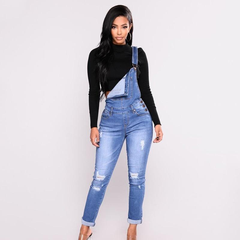 Women's Long Overalls Jeans Denim Jumpsuit Causal Solid Pencil Pants Plus Size 2020 Autumn Skinny Hole Slim High Waist Feminina