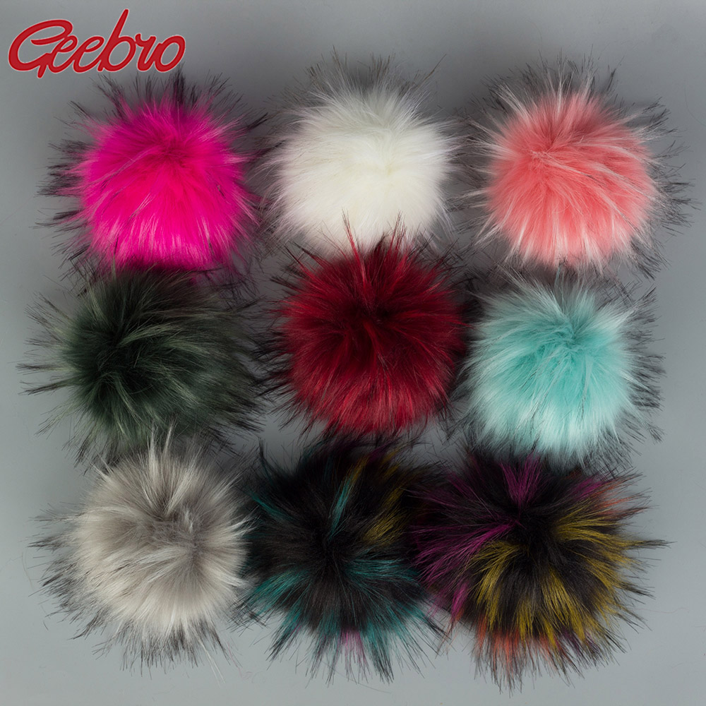 Geebro 15 CM Handmade DIY Hairball Hat   Beanie   Balls Faux Fur Pom Pom Wool Ball With Buckle Bags Accessories Female Winter Caps