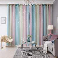 100x250CM Romantic Rainbow Color Sheer Curtain Girl Kids Bedroom Full Blackout Window Drapes Hollow Star Curtain Home Decor