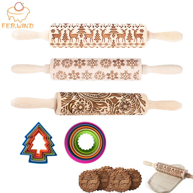 3D Wooden Embossed Christmas Rolling Pin Set With Xmas Cookie Cutter Decorative Rolling Pins Christmas Cookie/Dough Roller   145