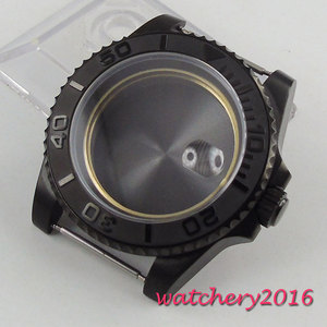 Image 3 - Newest HOT 40mm stainless black PVD CASE hardened mineral sapphire glass fit for 2836 Miyota 82 movement Mens Watch Case