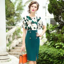 2020 New summer Women fashion printing party Dress Plus Size ladies Splicing dresses Celebrities Package hip office work dress