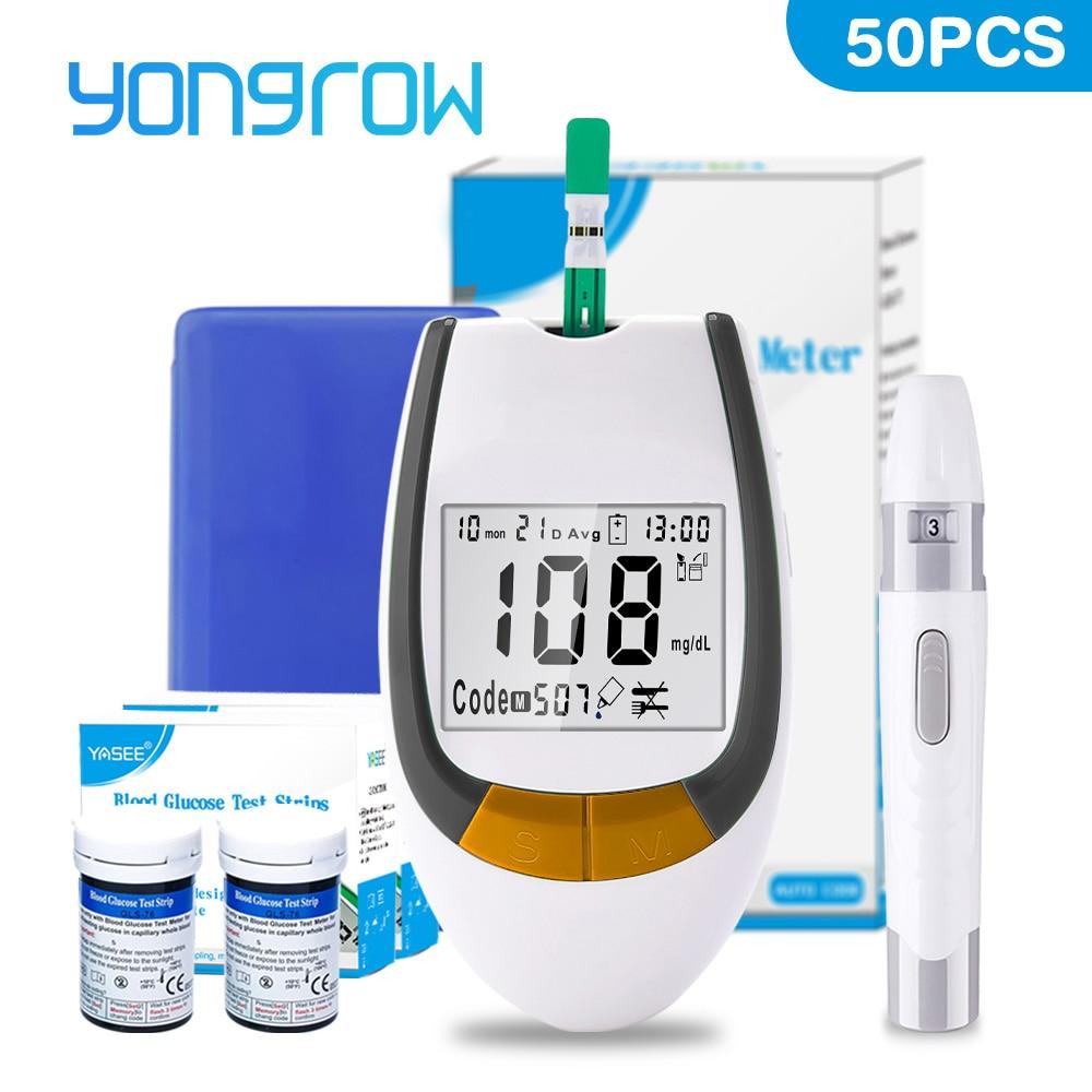 Yongrow метр и 50 шт. тест-полоски для измерения уровня глюкозы в крови иглы Lancets сахарный монитор Мути-часть сбора глюкометр в крови мг/дл