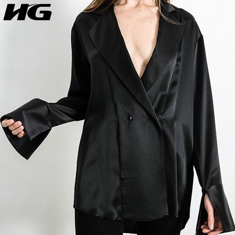 HG noir lâche Blouse femmes costume col à manches longues Streetwear mode Joker corée Style 2019 nouveau automne chemise femme ZYQ1529
