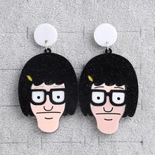 Новые забавные короткие акриловые серьги капли для девушек женские