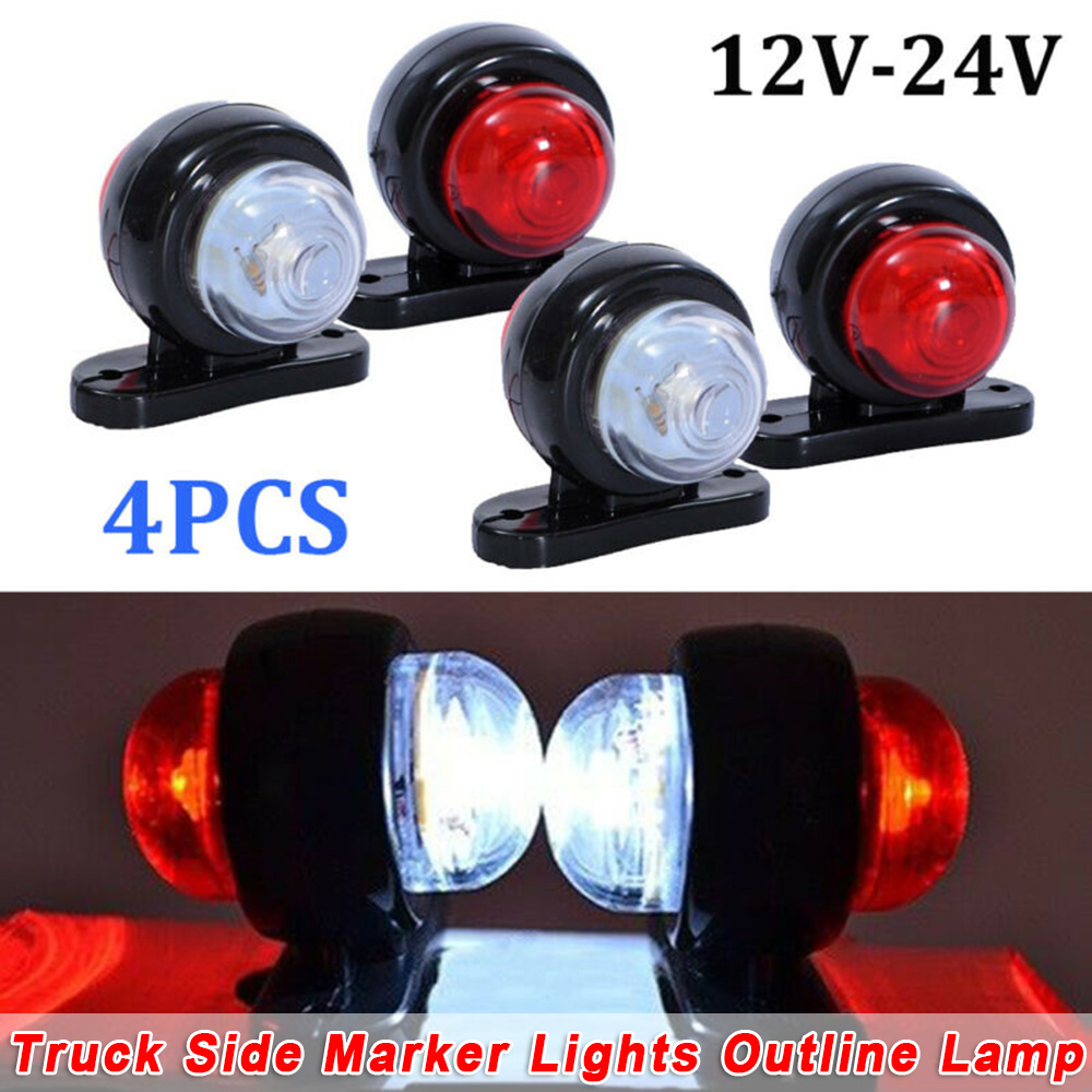 4x Car Truck LED Red White 12V/24V Side Marker Light Outline Lamps Car Accessories For SUV Truck Lorry RV Bus Boat Trailer