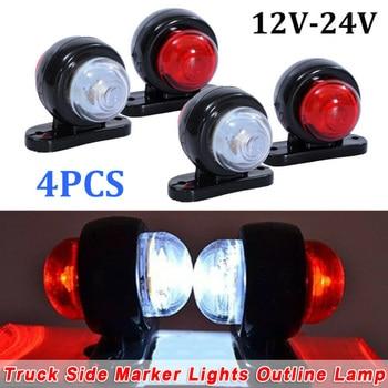 цена на 4x Car Truck LED Red White 12V/24V Side Marker Light Outline Lamps car Accessories for SUV truck Lorry RV bus boat trailer