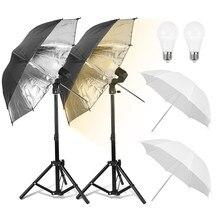 Mini mesa superior fotografia guarda-chuva kit de iluminação 26 polegada refletor guarda-chuva e27 soquete 9w lâmpada com suporte luz para foto vídeo