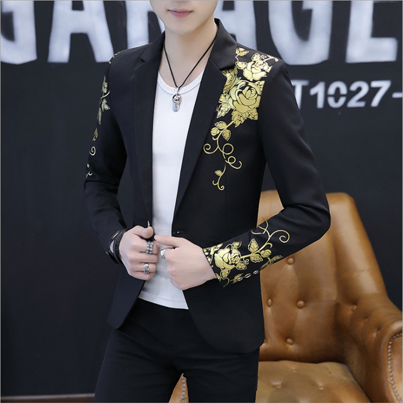 Nightclub KTV Stage Men Small Suit Wedding Host Formal Dress Master Of Ceremonies Hotel Welcome Hair Stylist Suit Men's