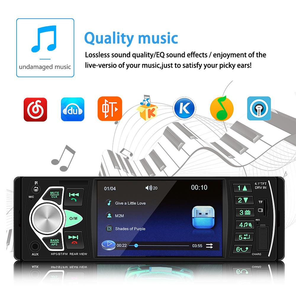 4.1 Inch Auto Radio 4022D 1 Din Car Radio Bluetooth Audio Stereo USB AUX FM With Remote Control MP5 Car Player Android image