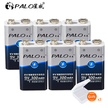 PALO 6pcs 9V 6F22 300mAh ni-mh ni mh Rechargeable 9 volt Battery for Digital camera Remote control toy smoke microphone alarm