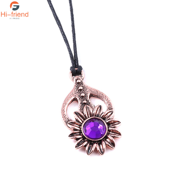 2020 New Game The Elder Scrolls V Morrowind Collars Amulet of Mara Purple Crystal Sunflower Necklaces Girls Women Jewelry image