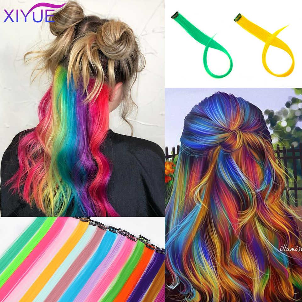Gekleurde Highlight Synthetische Hair Extensions Clip In Een Stuk Lange Rechte Haarstukje In Een Stuk Haarstukje Voor Vrouwen
