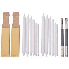 12 Pcs of White Stumps and Tortillions Set, 2 Pcs Sandpaper Pencil Sharpener and 2x Pencil Extension Tool