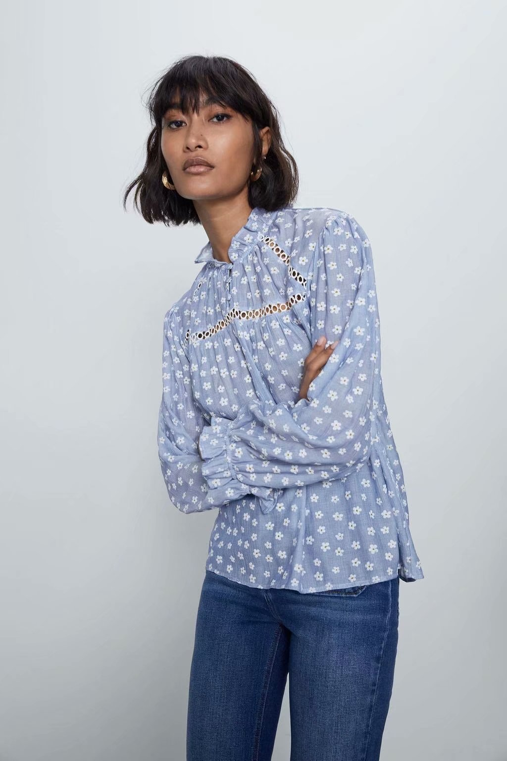 Blouse Women Plus Size Vintage Tops Clothes Cotton Zaraing Women Blouse Shirt Sheining Vadiming Female Blouse Shirt A9716