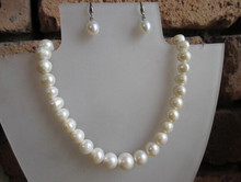 919 +++Details about Real Freshwater Cream Pearls 925 Silver Wedding Bridal Necklace Earrings Set(China)