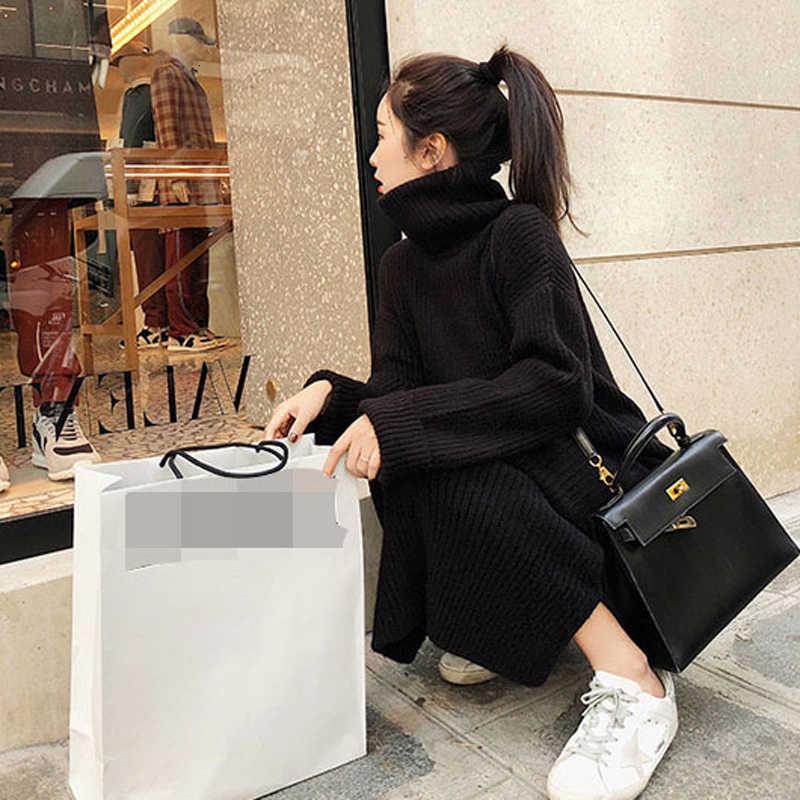 2019 플러스 사이즈 긴 소매 캐주얼 뜨개질 스웨터 겨울 맥시 느슨한 스케이팅 패션 드레스 여성을위한 따뜻한 우아한 숙녀 드레스