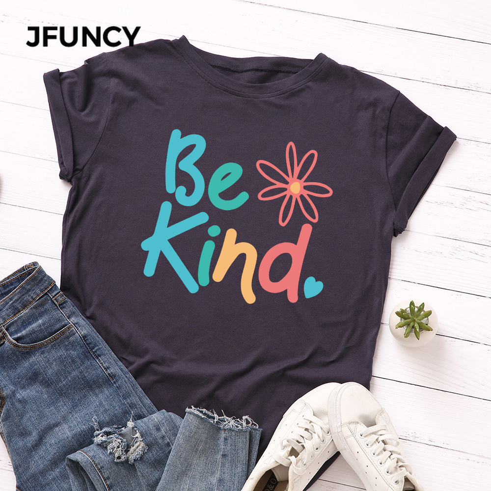 JFUNCY Plus Size S-5XL Women T-shirts Female Short Sleeve Tee Tops Colorful Print Woman Casual Tshirt 2020 Summer Cotton T Shirt