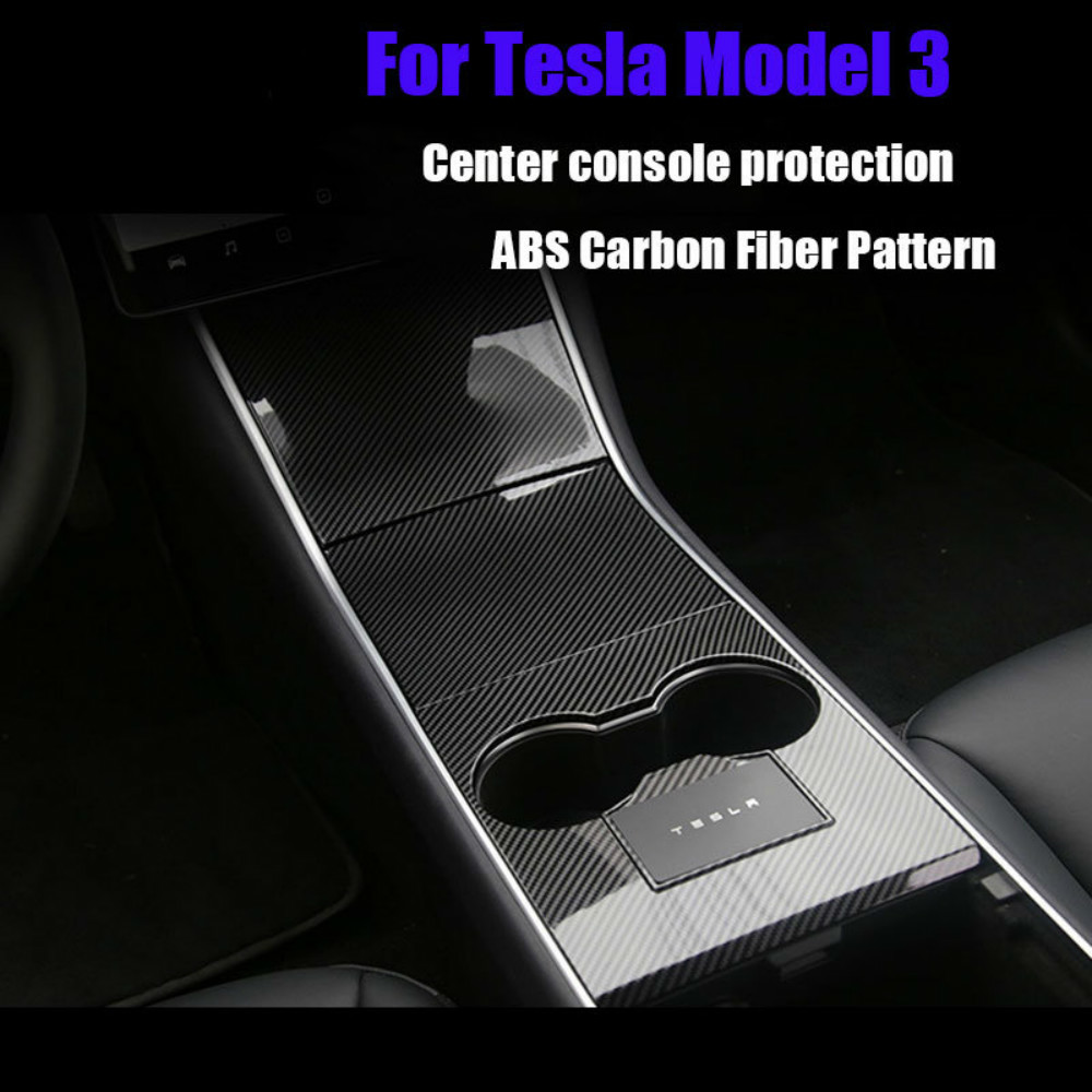 Suitable For Tesla Model 3 -2020 <font><b>Center</b></font> Cup Holder Console Panel <font><b>Cover</b></font> Frame Trim Steering <font><b>Wheel</b></font> Panel <font><b>Car</b></font> accessories 4 Colors image