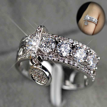 Huitan Exquisite Round Circle Prong Setting Stone Gift Rings With Luxury Pendant Silver Rose Gold Color Available Women