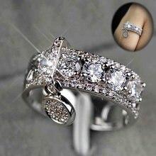 Изысканные круглые Подарочные Кольца huitan с камнем в форме