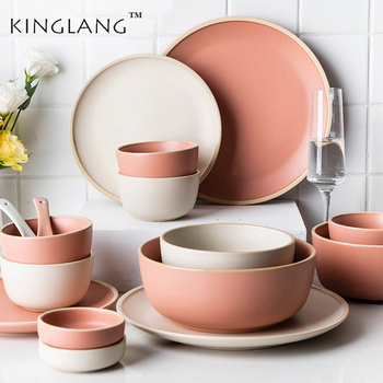 Kinglang Nordic ceramic porcelain dinner set  for 1/2/4 person Morandi dishes cutlery set lovers' household plates