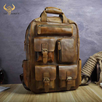 Design Male Leather Casual Fashion Heavy Duty Travel School University College 17 Laptop Bag Design Backpack Daypack 1170-lb new design male real cowhide leather casual travel bag school backpack daypack for men 2107