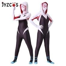 JYZCOS Spiderman Halloween Costumes for Women Gwen Stacy Spider-Man Cosplay Costume Maxine Stacy Zentai Bodysuit Suit Jumpsuits стоимость