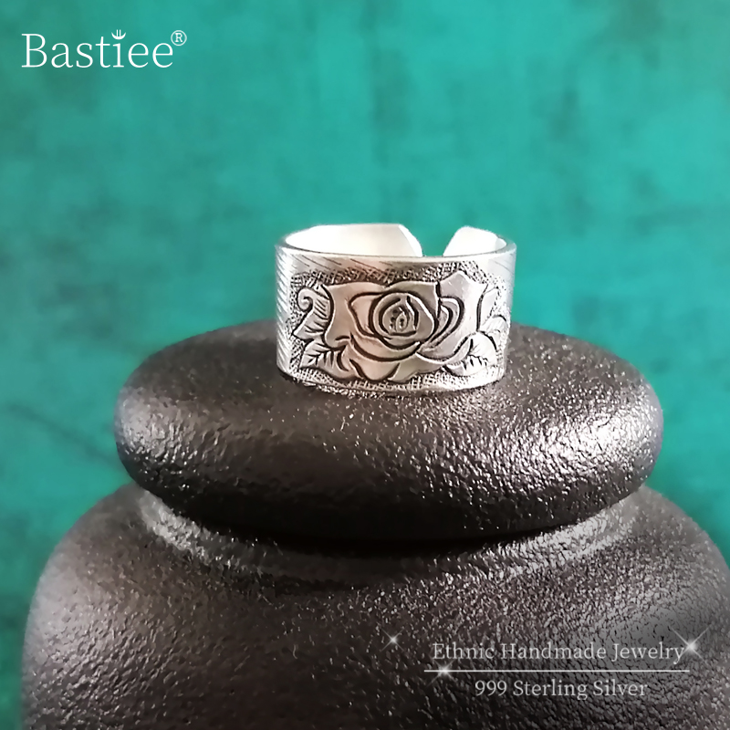 Vintage Peony Flower 999 Sterling Silver Rings For Women Engagement Antique Ring Adjustable Luxury Jewelry Boho Chinese Ethnic