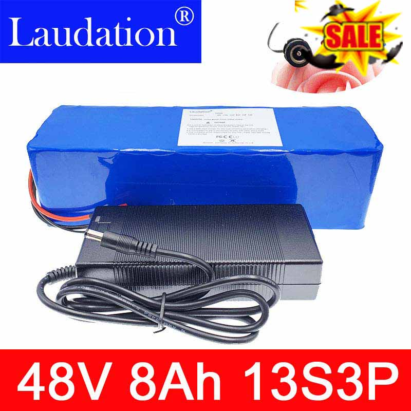 Laudation 48 v 8ah rechargeable lithium ion battery <font><b>13s</b></font> 3p 18650 With 2A charger built-in <font><b>15A</b></font> <font><b>BMS</b></font> For powerful electric bicycles image