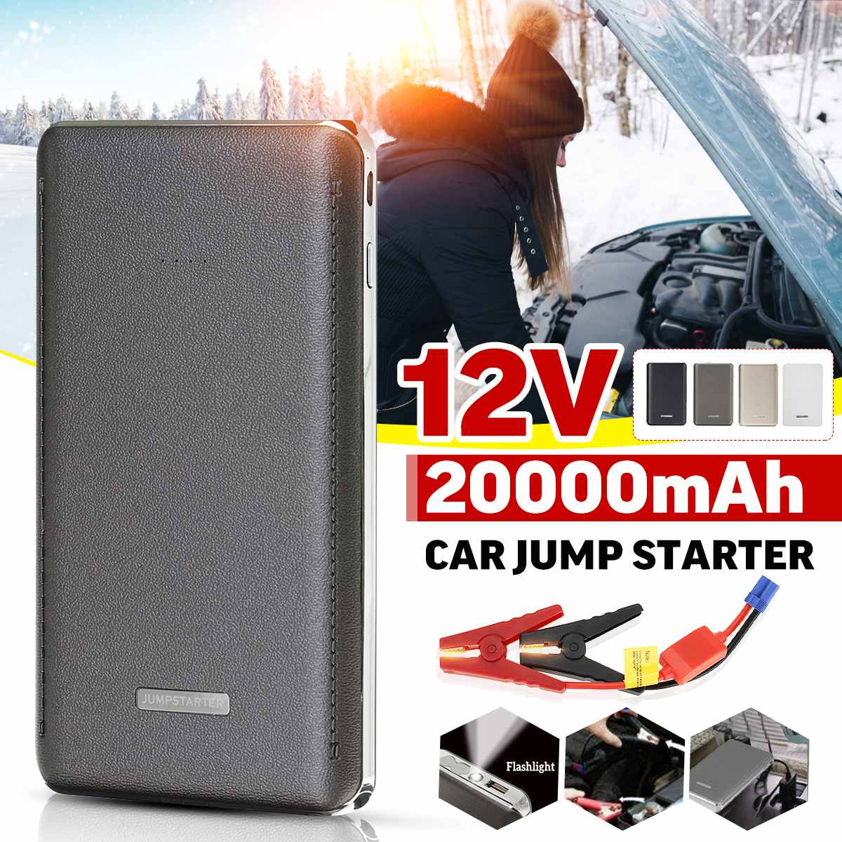 12V 20000mAh 2A Car Jump Starter Automobile Supply Emergency Battery Flashlight Charger Battery Smartphone Power Bank