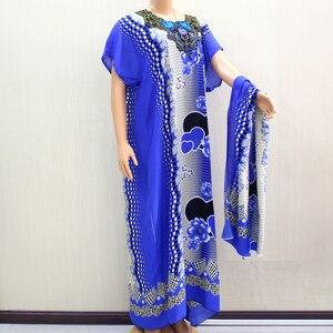 Image 4 - Африканское Дашики Dashikiage 2019, Анкара, в форме сердца, с цветочной аппликацией, синее 100% хлопковое женское платье