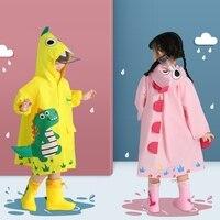 Kinder Cartoon Dinosaurier Atmungsaktive Poncho Wasserdichte Sicherheit Reflektierende Regen Hosen Für Grundschüler