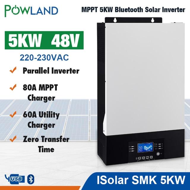Bluetooth 5000w Parallel Inverter 220V 48v solar Inverter 80A MPPT solar charger Off Grid Pure Sine Wave 80A Battery Charger