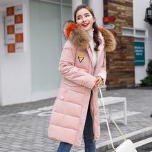2019Winter Long Parkas women Velour Soft warm thick jackets coat Big fur collar hooded outwear plus size M-3XL