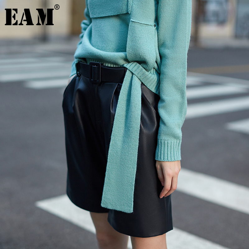 [EAM] Women Pu Leather Brief Wide Leg Shorts New High Waist Loose Fit  Trousers All-match Fashion Tide Spring Autumn 2019 1K907