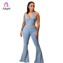 Denim Blue 2 Piece Set Front Zip Sexy Halter Vest Crop Top and Fashion Full Length Flare Pants Jeans Women Denim Matching Sets zip front crop graphic pullover