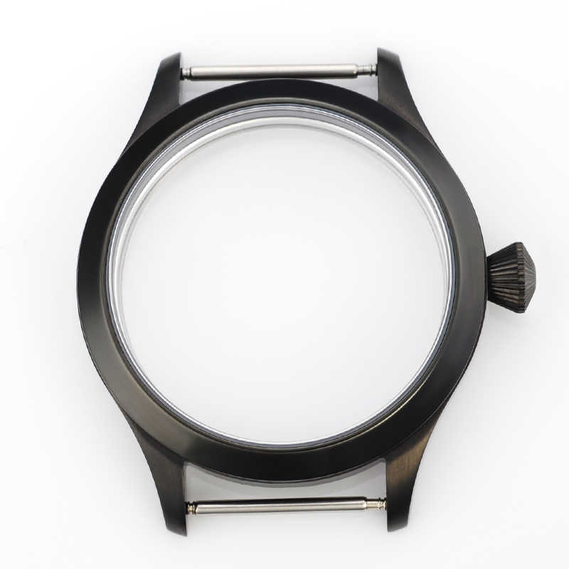 corgeut 43mm Stainless Steel Black PVD Case Fit for ETA UNITAS 6497/6498 ST 3600 Movement, Sapphire Glass Cases