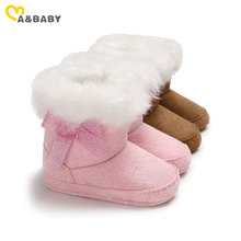 Ma&Baby 0-12M Warm Newborn Infant Baby Girls Boots Plush Bow Princess Baby Girls Ankle Snow Boots Winter Toddler Baby Shoes