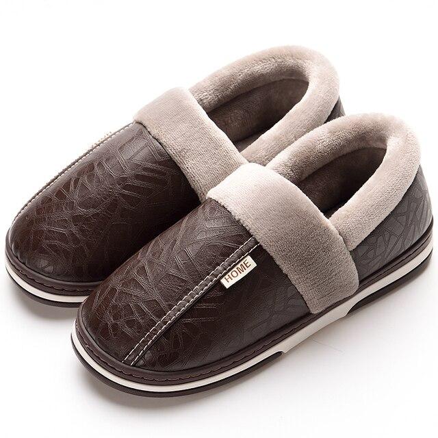 حجم كبير 40 48 الرجال أحذية الشتاء شبشب منزل دافئ للرجال النعال الدافئة مقاوم للماء مع الفراء رغوة الذاكرة شبشب منزل الذكور